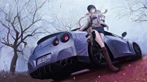 Hintergrundbilder Nissan Hinten Fan ART terabyte rook777 GT-R Anime Autos Mädchens