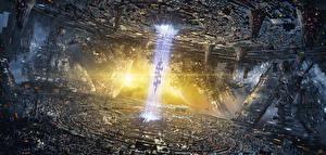 Bureaubladachtergronden Fantastische wereld spaceship NeoTerya Proto-City Fantasy Ruimte Steden