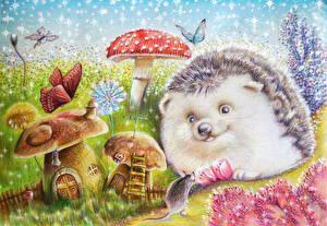 Bilder Igel Mäuse Gezeichnet Pilze Natur ein Tier