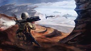 Hintergrundbilder Soldaten Rakete Schuss Fantasy