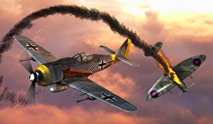 Image Airplane Fighter Airplane Two FW-190 Aviation 3D_Graphics