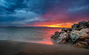 Fotos Vereinigte Staaten Meer Sonnenaufgänge und Sonnenuntergänge Küste Seattle Felsen Alki Beach Natur