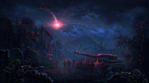 Fotos Soldaten Panzer Scharfschütze Nacht Fantasy