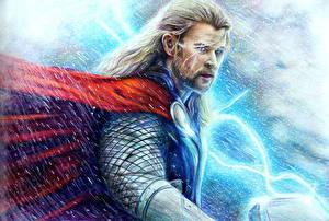 Images Thor Painting Art Chris Hemsworth Men Movies