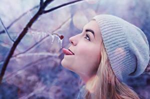 Fotos Winter Ast Mütze Mädchens
