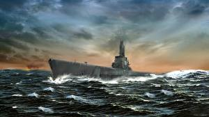 Picture Submarines Painting Art Sea USS Archer-Fish (SSAGSS-311)