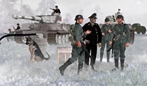 Bilder Soldaten Panzer Tiger Heer 3D-Grafik