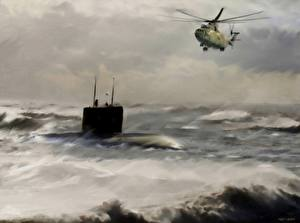 Image Helicopters Submarines Painting Art Mi-26 Army