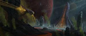 Bureaubladachtergronden Fantastische wereld Schip Fantasy Ruimte