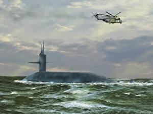 Images Submarines Helicopter Painting Art Trident sea trials 1987 Army