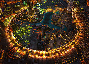 Pictures Emirates UAE Dubai Skyscrapers From above Megalopolis Street lights Cities