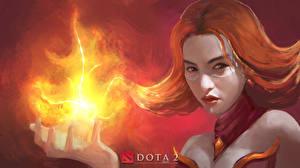 Pictures DOTA 2 Lina Warriors Magic Redhead girl Face Fantasy Girls