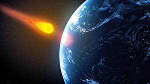 Pictures Planets meteorite future impact Space 3D_Graphics
