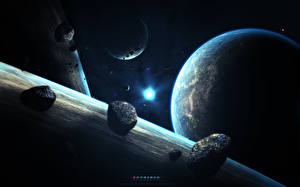Image Stars Planets Asteroid Surface of planets Earth abikk Space 3D_Graphics