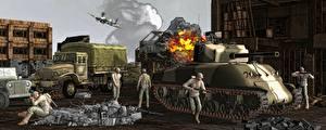 Bilder Soldaten Panzer M4 Sherman 3D-Grafik Heer