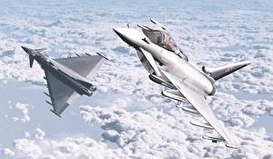 Pictures Airplane Fighter aircraft 2 Clouds Eurofighter Typhoon Aviation 3D_Graphics