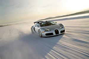 Hintergrundbilder BUGATTI Silber Farbe Schnee Bewegung Roadster 2008 Veyron Grand Sport Roadster US-spec
