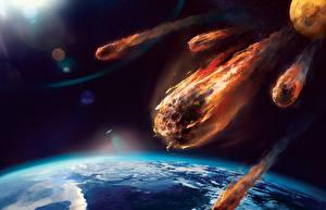 Bureaubladachtergronden Planeet oppervlak Aarde meteor Ruimte Fantasy