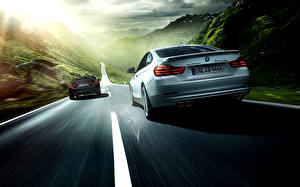Wallpapers BMW Roads Back view At speed 2 2014 Alpina 4 Series auto