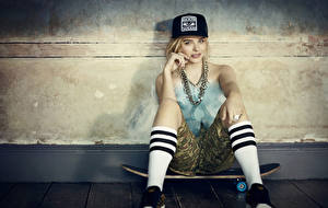 Pictures Chloe Grace Moretz Skateboard Blonde girl Baseball cap Sitting Knee highs Girls