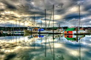 Bilder Vereinigte Staaten Boot Jacht Schiffsanleger Wolke HDRI Poulsbo Marina Washington Städte