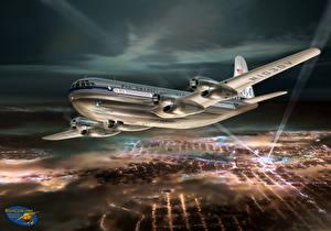 Fotos Flugzeuge Gezeichnet Verkehrsflugzeug Boeing Nacht Boeing 377 Stratocruiser