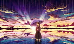 Pictures Sunrises and sunsets Rain Parasol Clouds amemura Anime Girls