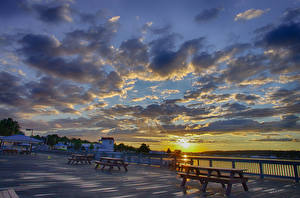 Wallpaper River Sky Sunrises and sunsets Waterfront Clouds Cities