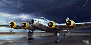 Hintergrundbilder Flugzeuge Gezeichnet Boeing Boeing B-17D