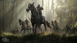 Wallpapers Rise of the Planet of the Apes Horse Warrior Monkeys Dawn of the Planet of the Apes art Fantasy Animals