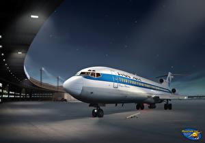Hintergrundbilder Flugzeuge Gezeichnet Verkehrsflugzeug Boeing Nacht Pan Am Boeing 727 at Berlin Tempelhof