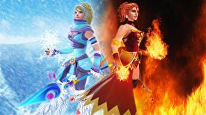Wallpaper DOTA 2 Crystal Maiden Lina Warriors Magic Redhead girl Fantasy Girls