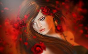 Fotos Rose Brünette Haar 3D-Grafik Mädchens