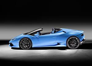 Bilder Lamborghini Cabrio Hellblau Seitlich 2015 Huracan Autos