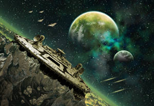Bureaubladachtergronden Planeten Schip construction Fantasy Ruimte 3D_graphics
