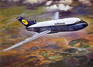 Desktop hintergrundbilder Flugzeuge Verkehrsflugzeug Boeing Boeing B-727 Lufthansa Luftfahrt
