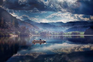 Images Switzerland Boats Lake Scenery Fishing Clouds Tyurlerzee Nature