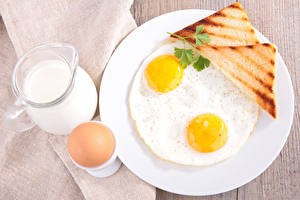 Picture Bread Milk Fried egg Eggs Jug container Breakfast Food