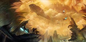 Bureaubladachtergronden Schip Verliefde stelletjes Fantastische wereld Fantasy Ruimte