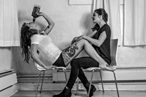 Wallpapers Jack Daniel's Tattoos Legs Two Chair Sitting Meredith Lauren female