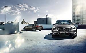 Desktop wallpapers BMW Front 2015 series 5 F07 Gran Turismo GT auto Cities