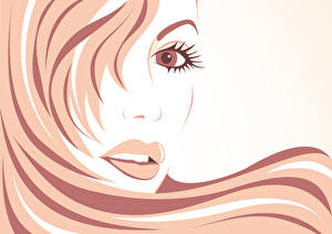 Images Painting Art Lips Vector Graphics Face Glance Hair young woman