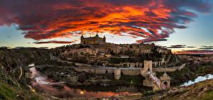 Image Spain Scenery River Castle Toledo Clouds Cities