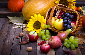 Image Autumn Apples Grapes Pears Pumpkin Still-life Wicker basket