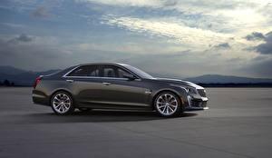 Bilder Cadillac Graue Metallisch Seitlich 2016 CTS-V auto