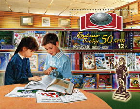Wallpapers Two Book Stamps Boys Little girls Library The 50th anniversary of the Biblio-Globus