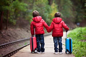 Pictures Railroads Boys Two Suitcase Jacket Red child