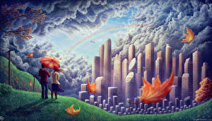 Pictures Couples in love Pictorial art Skyscrapers Rainbow Foliage Umbrella Clouds Cities Fantasy