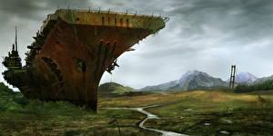 Photo Ships Aircraft carrier Old Fantasy