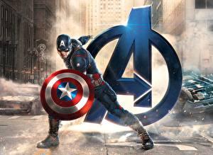 Wallpapers Avengers: Age of Ultron Captain America hero Logo Emblem Shield Marvel Movies Fantasy